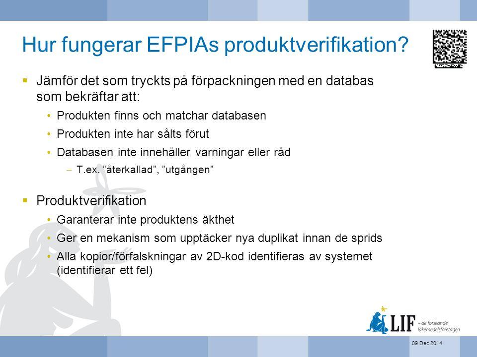 09 Dec 2014 Hur fungerar EFPIAs produktverifikation?  Jämför det som tryckts på förpackningen med en databas som bekräftar att: Produkten finns och m