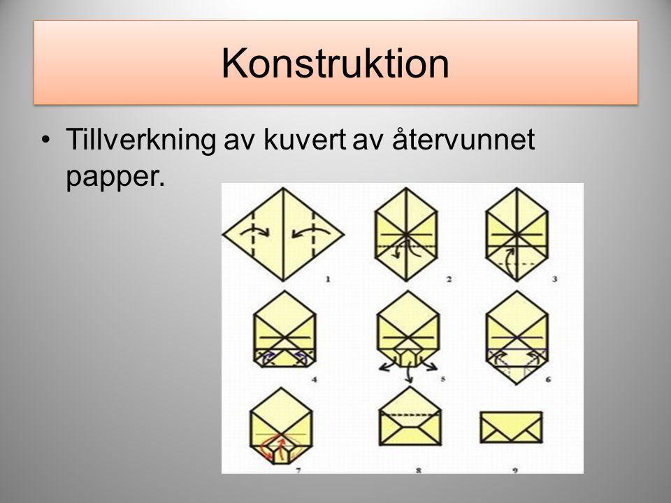 Konstruktion Tillverkning av kuvert av återvunnet papper.