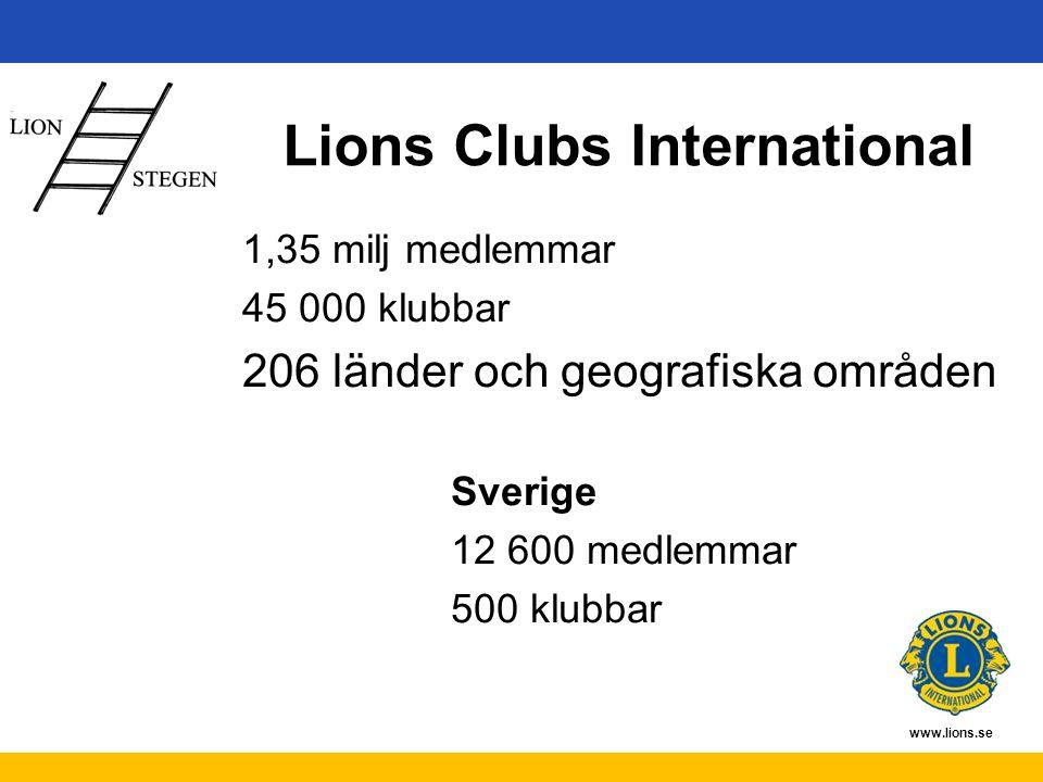 www.lions.se Historik Bildades 8 oktober 1917 Sveriges första klubb bildades 1948 Kvinnligt medlemskap infördes 1987