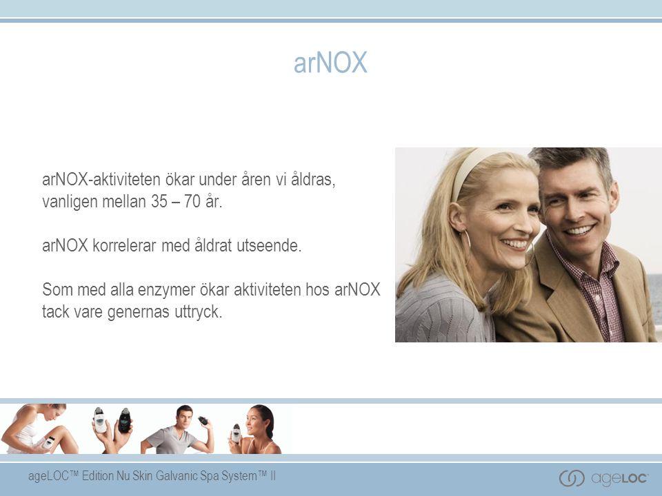 ageLOC™ Edition Nu Skin Galvanic Spa System™ II arNOX arNOX-aktiviteten ökar under åren vi åldras, vanligen mellan 35 – 70 år.