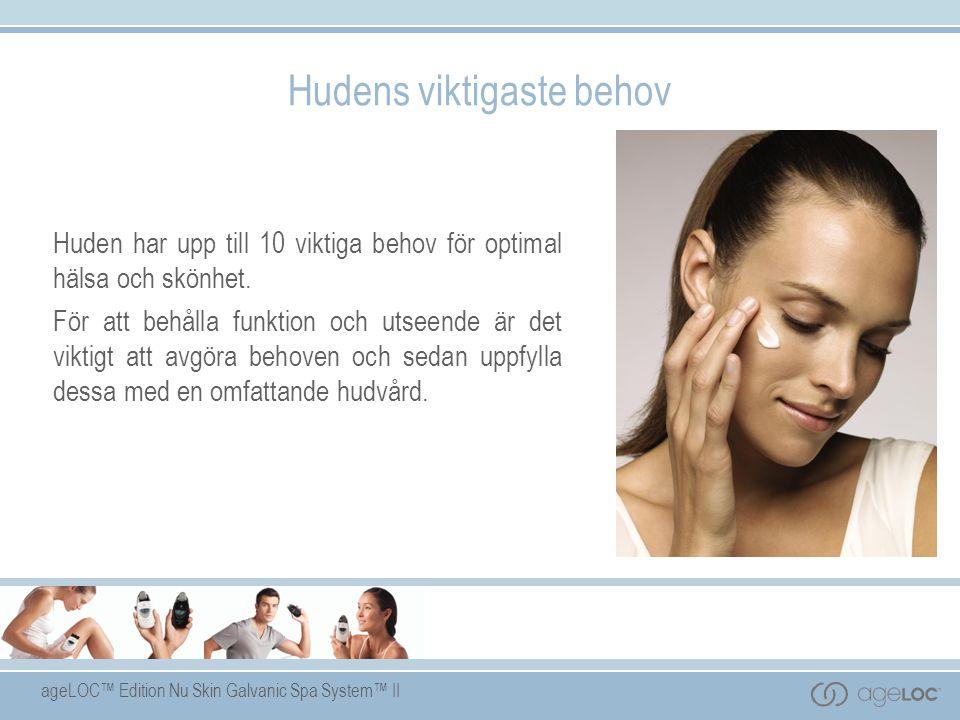ageLOC™ Edition Nu Skin Galvanic Spa System™ II Hudens viktigaste behov Huden har upp till 10 viktiga behov för optimal hälsa och skönhet.