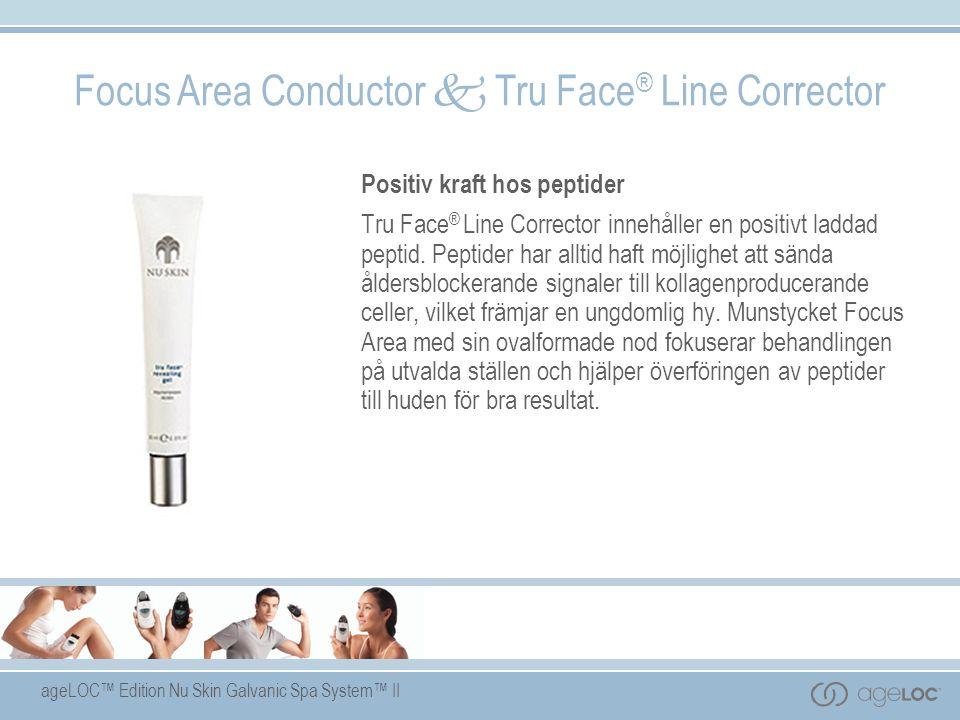 ageLOC™ Edition Nu Skin Galvanic Spa System™ II Focus Area Conductor  Tru Face ® Line Corrector Positiv kraft hos peptider Tru Face ® Line Corrector innehåller en positivt laddad peptid.