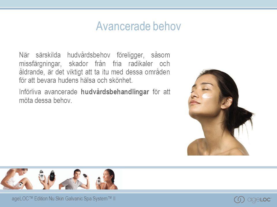 ageLOC™ Edition Nu Skin Galvanic Spa System™ II Avancerade behov När särskilda hudvårdsbehov föreligger, såsom missfärgningar, skador från fria radikaler och åldrande, är det viktigt att ta itu med dessa områden för att bevara hudens hälsa och skönhet.