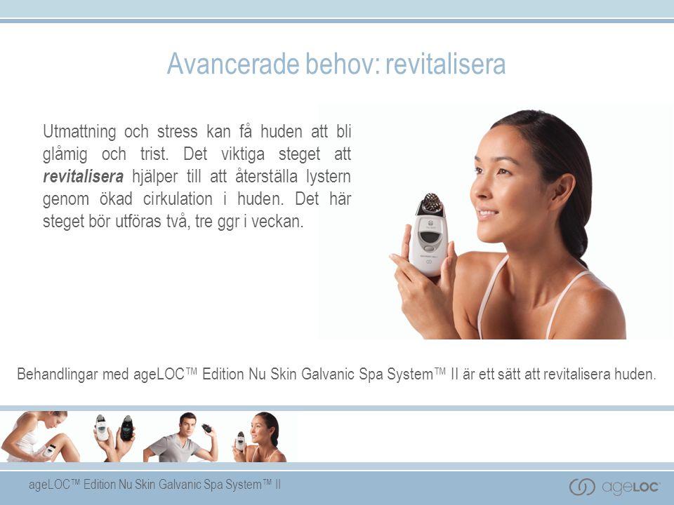 ageLOC™ Edition Nu Skin Galvanic Spa System™ II Avancerade behov: revitalisera Utmattning och stress kan få huden att bli glåmig och trist.