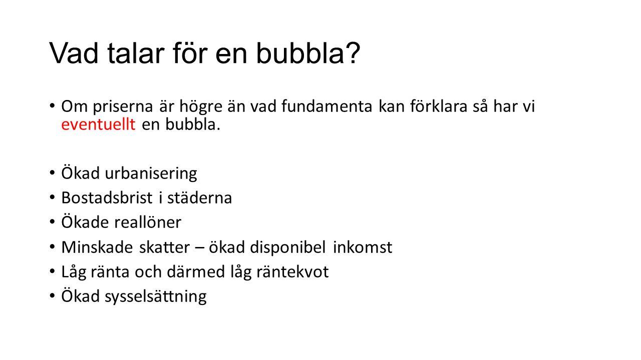 Vad talar för en bubbla? Om priserna är högre än vad fundamenta kan förklara så har vi eventuellt en bubbla. Ökad urbanisering Bostadsbrist i städerna