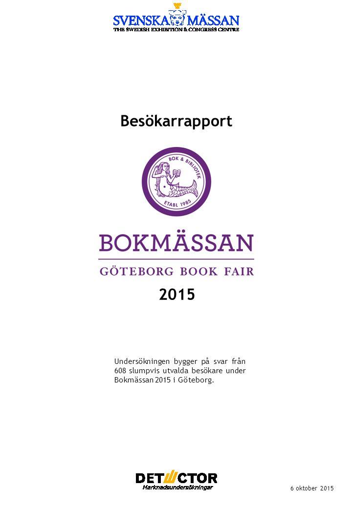 Besökarrapport 6 oktober 2015 Undersökningen bygger på svar från 608 slumpvis utvalda besökare under Bokmässan 2015 i Göteborg.