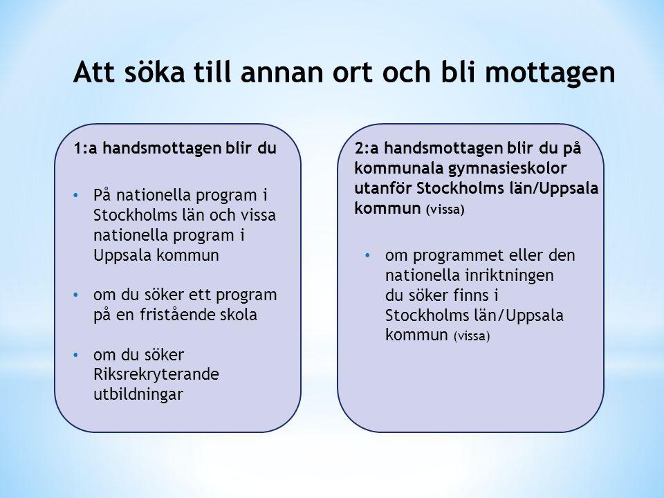 Att söka till annan ort och bli mottagen På nationella program i Stockholms län och vissa nationella program i Uppsala kommun om du söker ett program