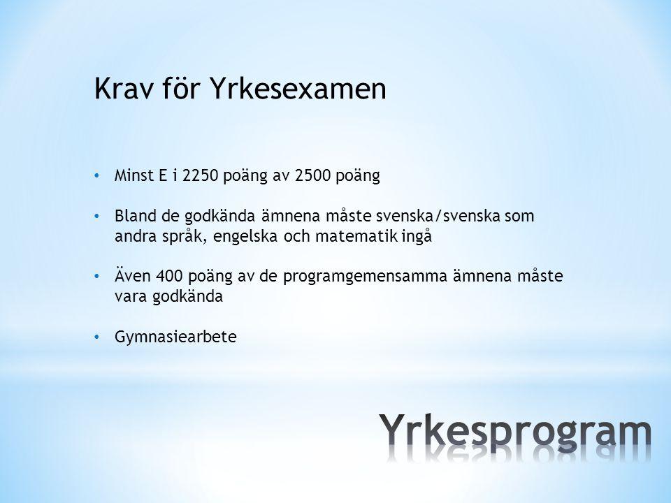 Krav för Yrkesexamen Minst E i 2250 poäng av 2500 poäng Bland de godkända ämnena måste svenska/svenska som andra språk, engelska och matematik ingå Äv