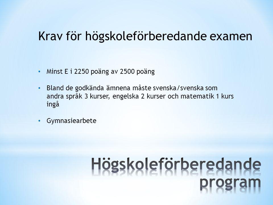 Krav för högskoleförberedande examen Minst E i 2250 poäng av 2500 poäng Bland de godkända ämnena måste svenska/svenska som andra språk 3 kurser, engel