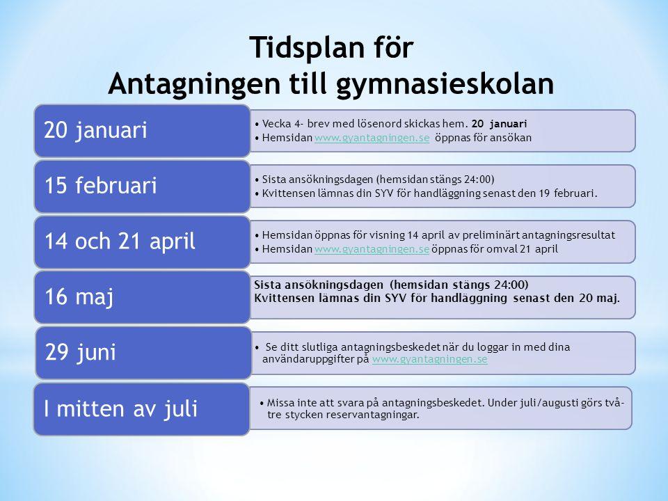 Vecka 4- brev med lösenord skickas hem. 20 januari Hemsidan www.gyantagningen.se öppnas för ansökanwww.gyantagningen.se 20 januari Sista ansökningsdag