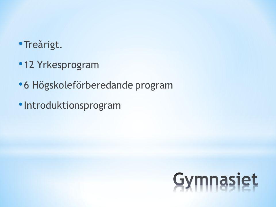 Treårigt. 12 Yrkesprogram 6 Högskoleförberedande program Introduktionsprogram