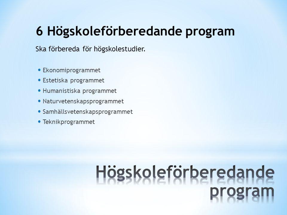 6 Högskoleförberedande program Ekonomiprogrammet Estetiska programmet Humanistiska programmet Naturvetenskapsprogrammet Samhällsvetenskapsprogrammet T
