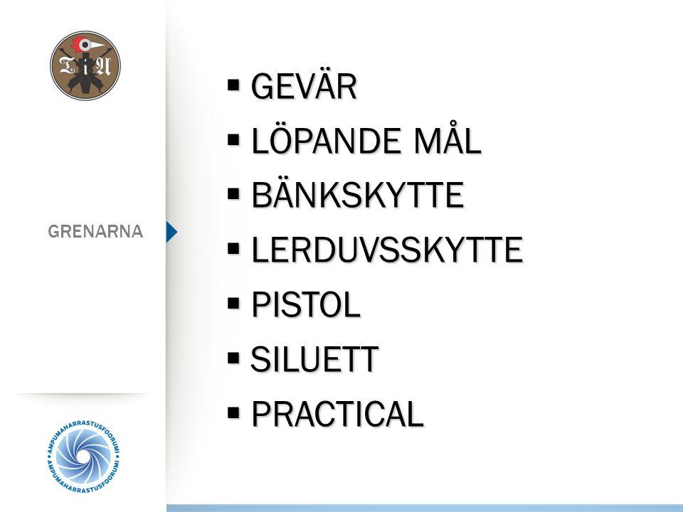Skjutbanorna  I Luonetjärvi används garnisonens 25 m pistolbana, 300 m gevärsbana och banan för löpande mål  Egen 50 m bana i Luonetjärvi  Lerduvor skjuts på KSA:s bana i Laukaa  Luftvapen skjuts på KSA:s turer i Kuokkalas Graniitti
