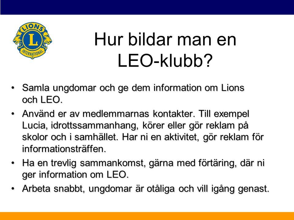Samla ungdomar och ge dem information om Lions och LEO.Samla ungdomar och ge dem information om Lions och LEO. Använd er av medlemmarnas kontakter. Ti