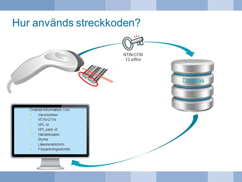 Hur används streckkoden? NTIN/GTIN 13 siffror Databas Önskad information, t.ex. Varunummer NTIN/GTIN NPL id NPL pack id Handelsnamn Styrka Läkemedelsf