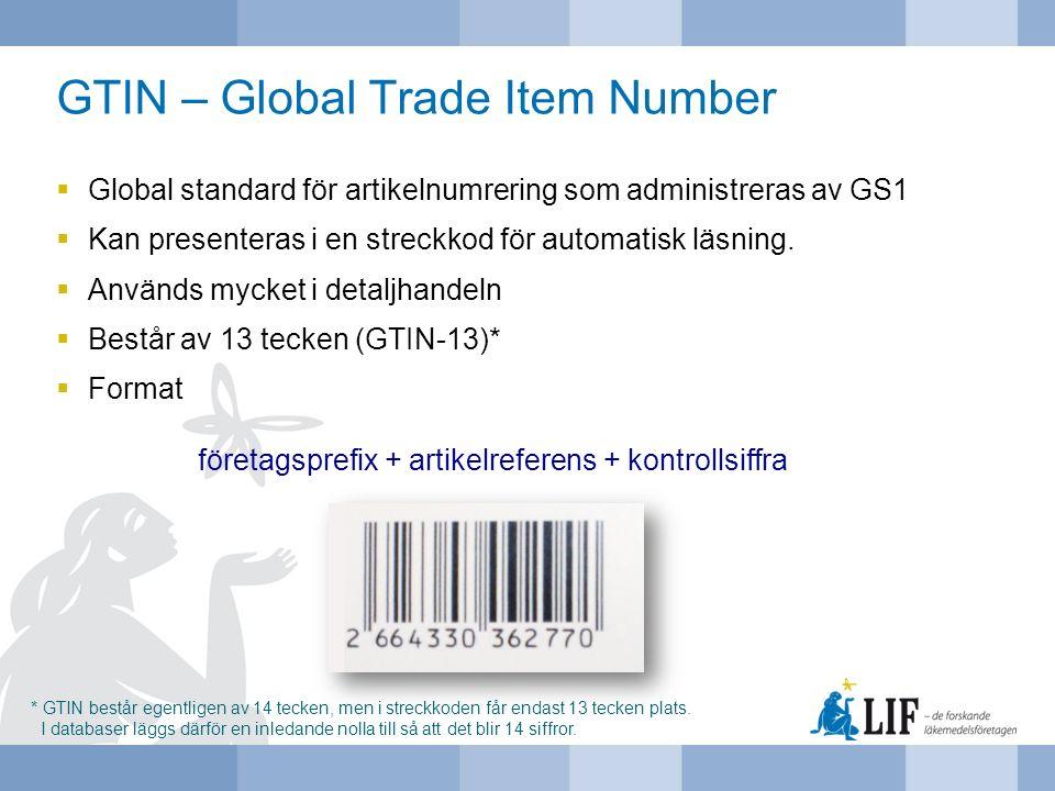 GTIN – Global Trade Item Number  Global standard för artikelnumrering som administreras av GS1  Kan presenteras i en streckkod för automatisk läsnin