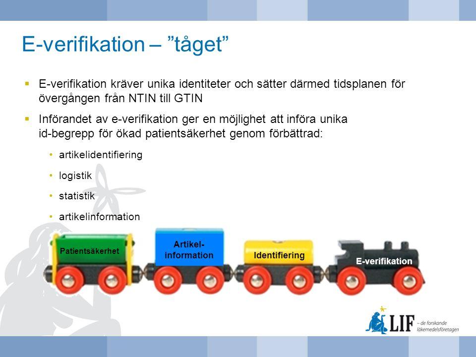 E-verifikation kräver unika identiteter och sätter därmed tidsplanen för övergången från NTIN till GTIN  Införandet av e-verifikation ger en möjlig