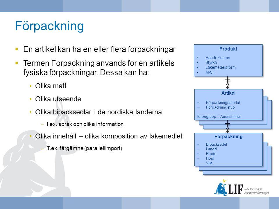 Förpackning  En artikel kan ha en eller flera förpackningar  Termen Förpackning används för en artikels fysiska förpackningar. Dessa kan ha: Olika m