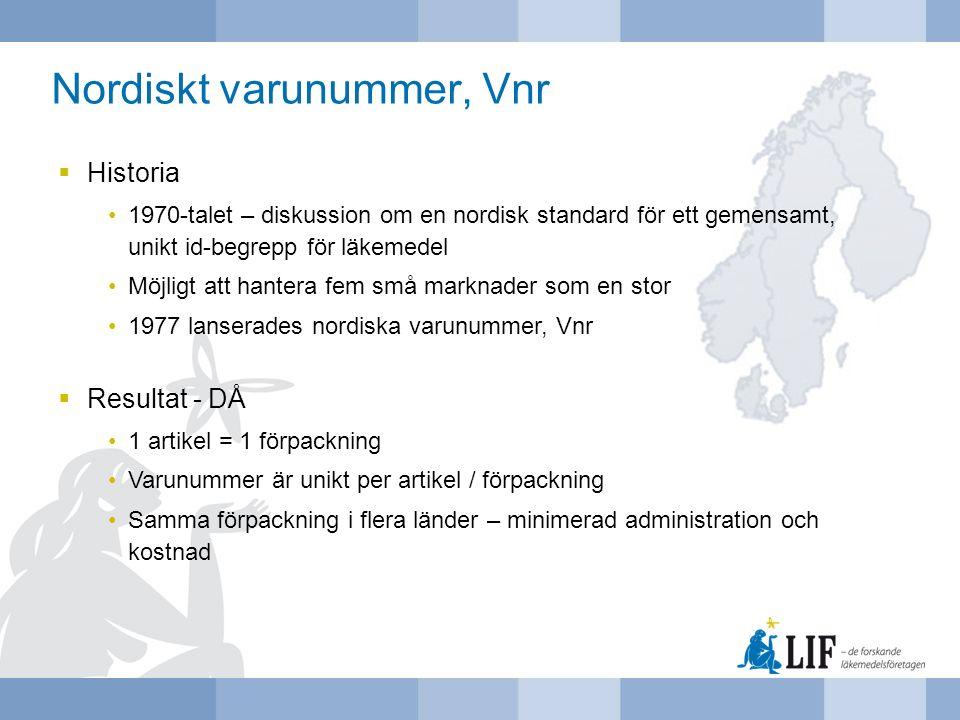 Nordiskt varunummer, Vnr  Historia 1970-talet – diskussion om en nordisk standard för ett gemensamt, unikt id-begrepp för läkemedel Möjligt att hante