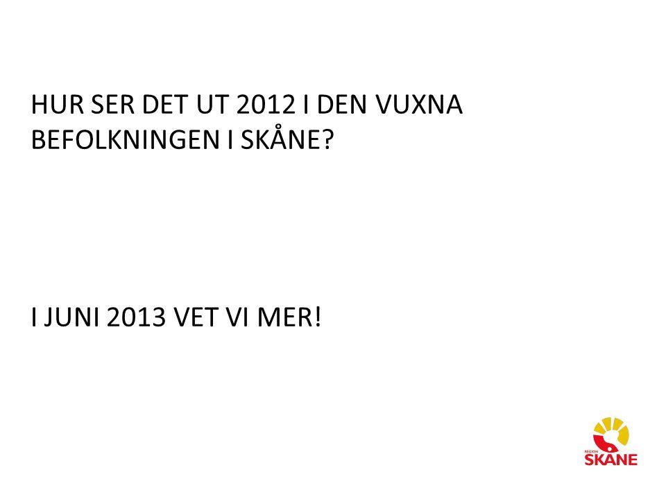 HUR SER DET UT 2012 I DEN VUXNA BEFOLKNINGEN I SKÅNE I JUNI 2013 VET VI MER!
