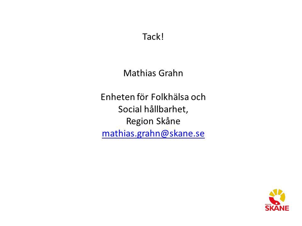 Tack! Mathias Grahn Enheten för Folkhälsa och Social hållbarhet, Region Skåne mathias.grahn@skane.se mathias.grahn@skane.se
