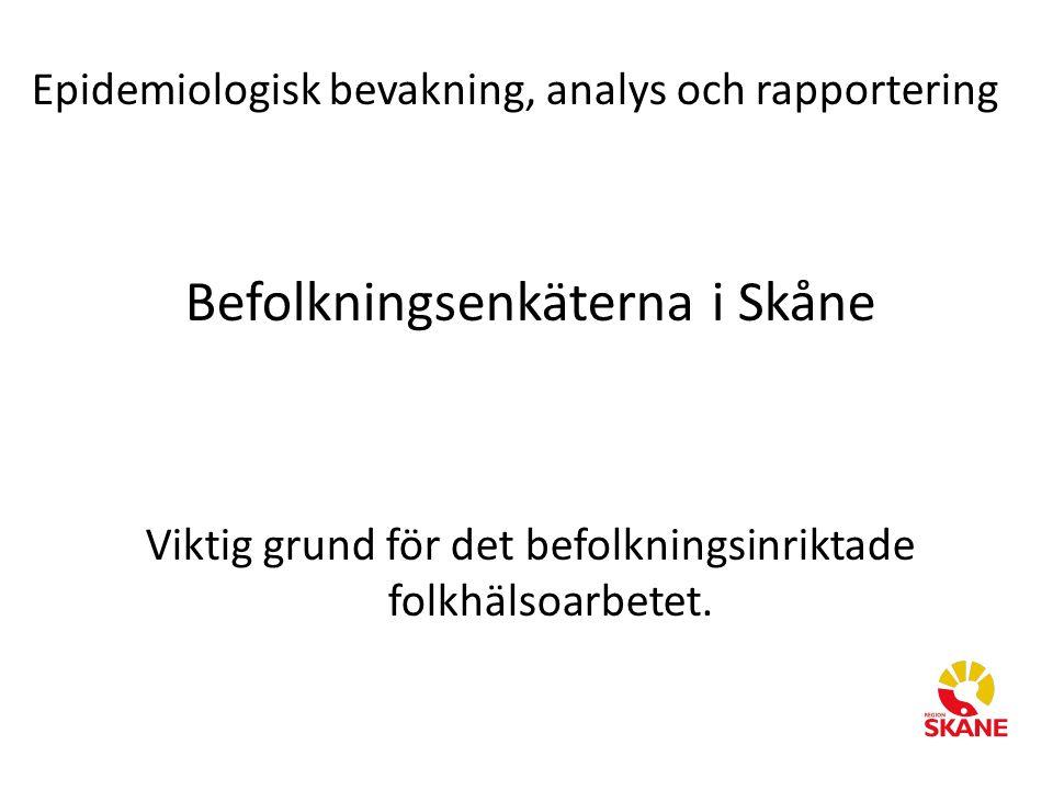 Epidemiologisk bevakning, analys och rapportering Befolkningsenkäterna i Skåne Viktig grund för det befolkningsinriktade folkhälsoarbetet.
