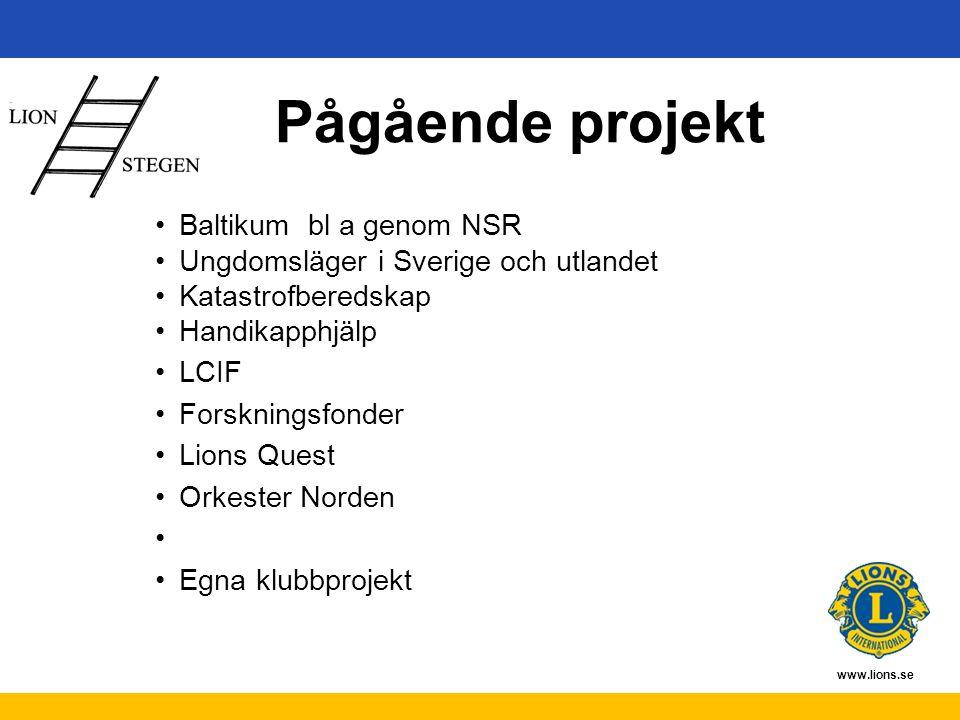 www.lions.se Pågående projekt Baltikum bl a genom NSR Ungdomsläger i Sverige och utlandet Katastrofberedskap Handikapphjälp LCIF Forskningsfonder Lion