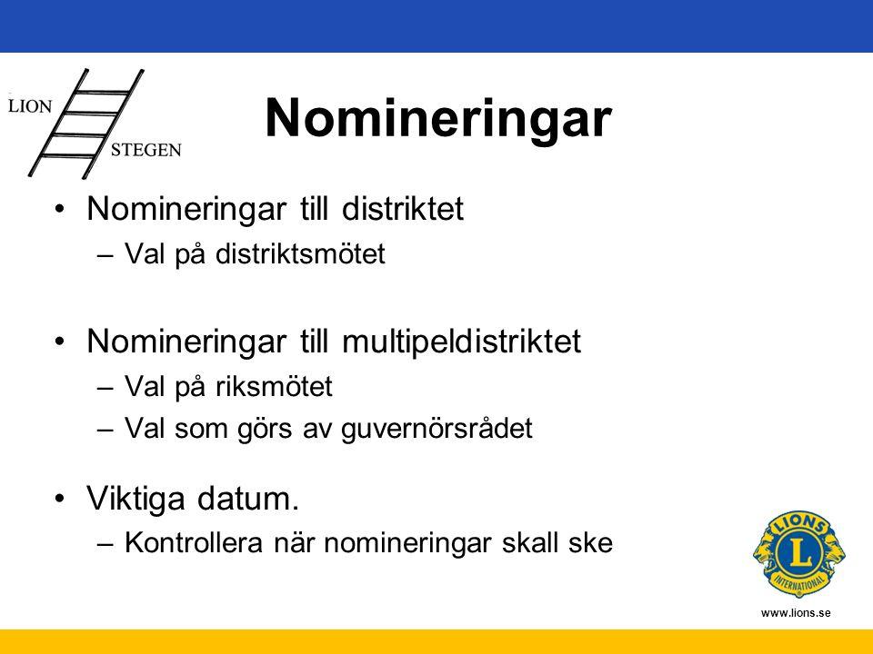 www.lions.se Nomineringar Nomineringar till distriktet –Val på distriktsmötet Nomineringar till multipeldistriktet –Val på riksmötet –Val som görs av