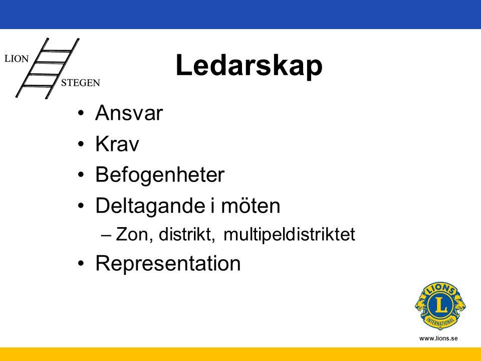 www.lions.se Ledarskap Ansvar Krav Befogenheter Deltagande i möten –Zon, distrikt, multipeldistriktet Representation