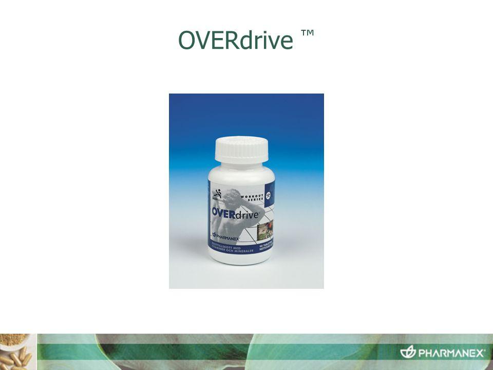 OVERdrive ™  OVERdrive innehåller:  Mineraler  B-vitaminer  Antioxidanter  Proteinspjälkande enzymer  Ersätter mineraler och elektrolyter.