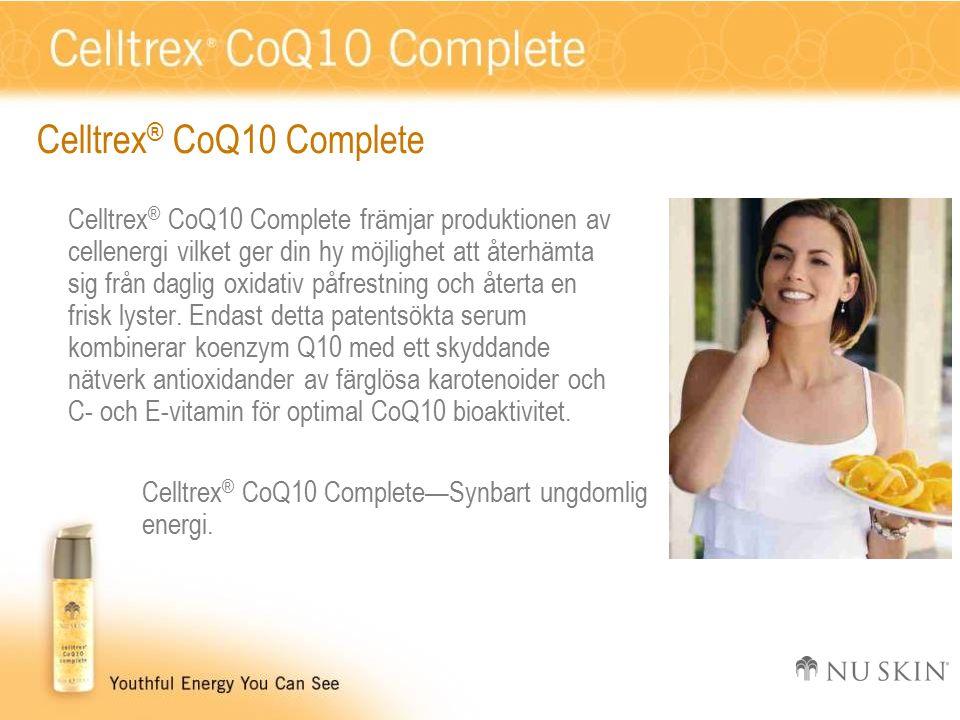 Celltrex ® CoQ10 Complete Celltrex ® CoQ10 Complete främjar produktionen av cellenergi vilket ger din hy möjlighet att återhämta sig från daglig oxidativ påfrestning och återta en frisk lyster.