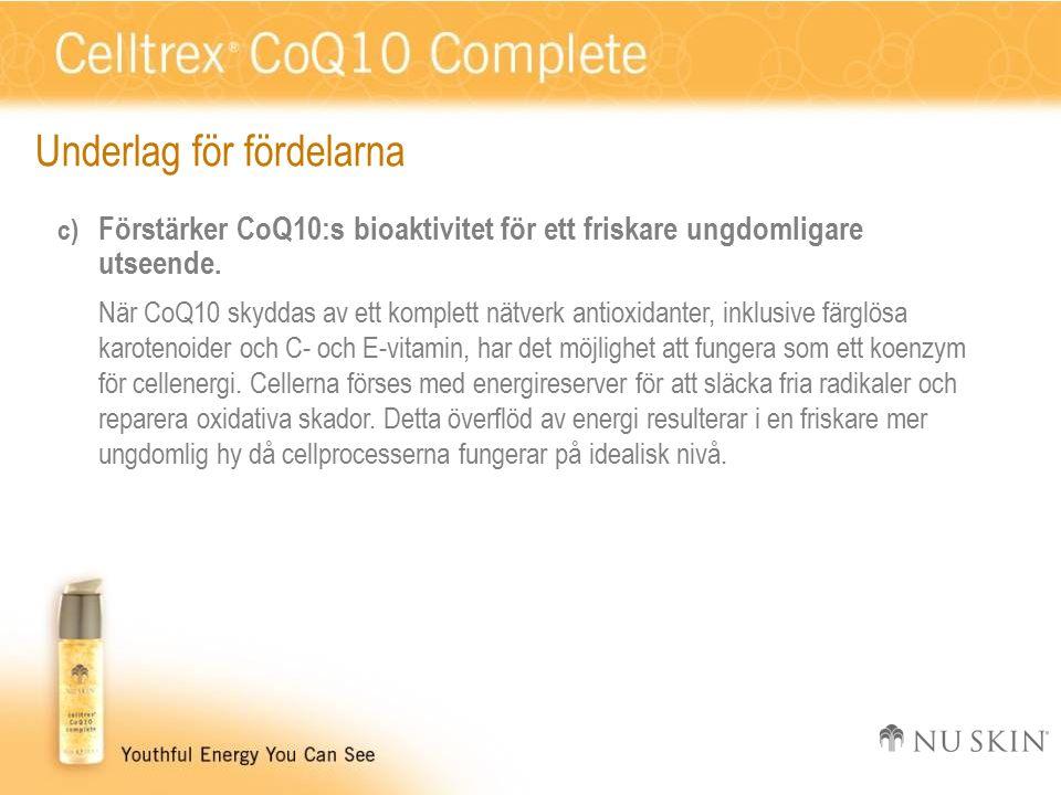 Underlag för fördelarna c) Förstärker CoQ10:s bioaktivitet för ett friskare ungdomligare utseende.