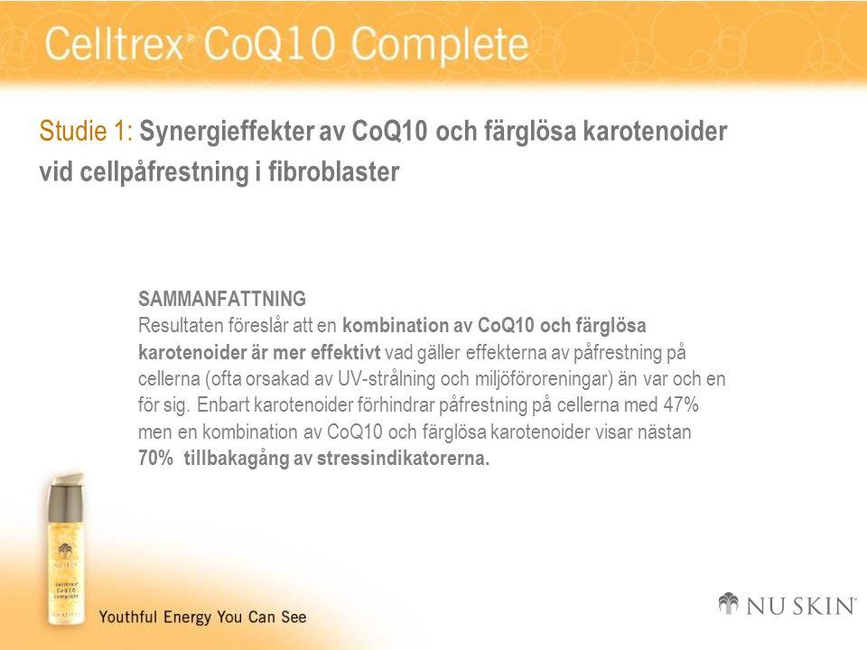 SAMMANFATTNING Resultaten föreslår att en kombination av CoQ10 och färglösa karotenoider är mer effektivt vad gäller effekterna av påfrestning på cellerna (ofta orsakad av UV-strålning och miljöföroreningar) än var och en för sig.