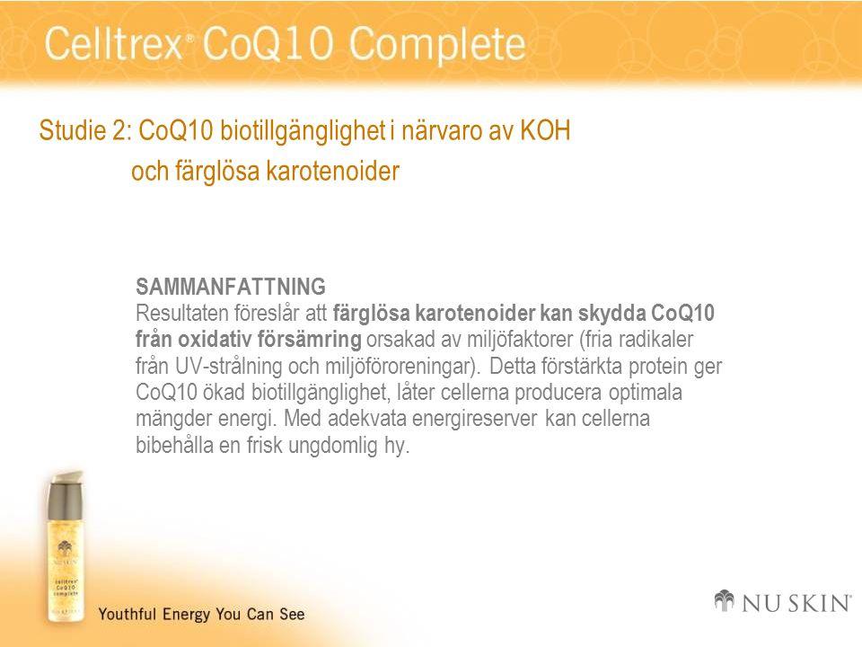 SAMMANFATTNING Resultaten föreslår att färglösa karotenoider kan skydda CoQ10 från oxidativ försämring orsakad av miljöfaktorer (fria radikaler från UV-strålning och miljöföroreningar).