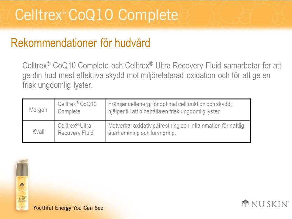 Rekommendationer för hudvård Celltrex ® CoQ10 Complete och Celltrex ® Ultra Recovery Fluid samarbetar för att ge din hud mest effektiva skydd mot miljörelaterad oxidation och för att ge en frisk ungdomlig lyster.