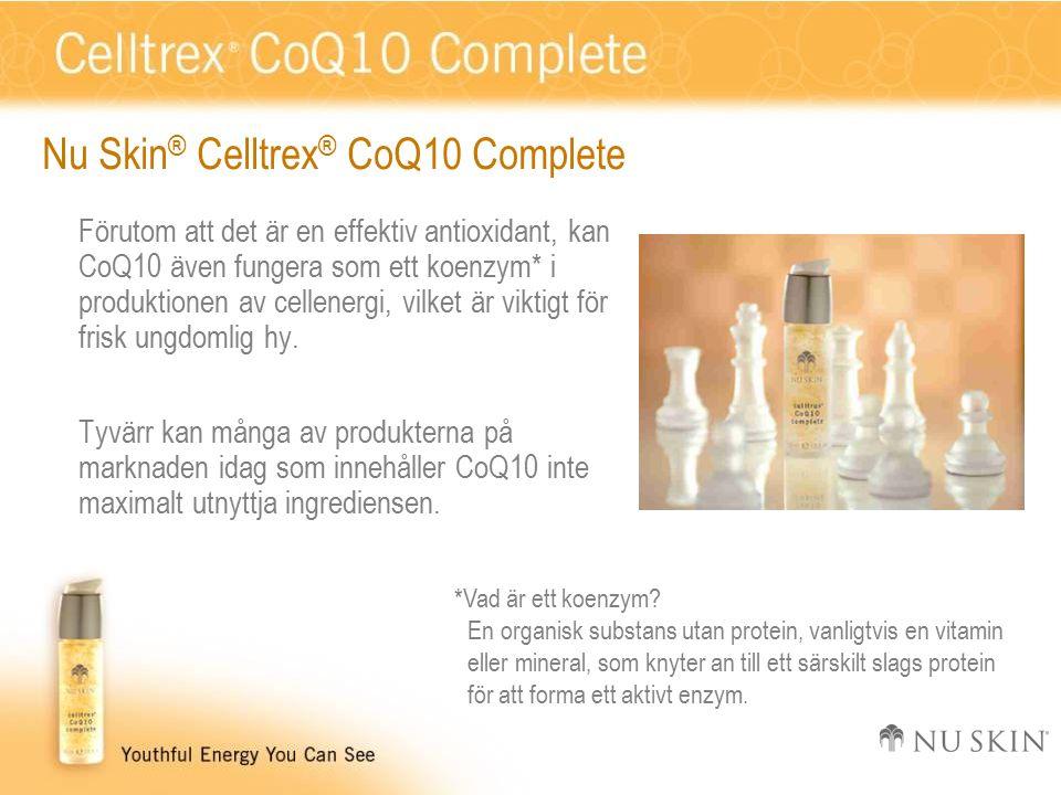 Repetition Nu Skin ® Celltrex ® CoQ10 Complete med koenzym Q10, det skyddande nätverket av antioxidanter av färglösa karotenoider, och C- och E-vitamin låter din hud återhämta sig från daglig oxidativ påfrestning och ger en ungdomlig fräsch lyster.