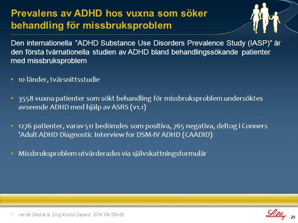 30 Demografi – Medeltal åldersgrupp, 37 (Frankrike) till 43 år (Ungern) – 26.7% kvinnor, 31% anställda, 8.6% hemlösa, 25.9% gifta/partner Prevalens vuxna med ADHD – ASRS 40% totalt bedömdes positiva Resultat varierade från 20.8% (Ungern) till 65.9% (Norge) – DSM-IV 5.4% (95% CI 2.4–8.3) Ungern, 31.3% (95% CI 25.2–37.5) Norge – DSM-5 7.6% (95% CI 4.1–11.1) Ungern, 32.6% (95% CI 26.4–38.8) Norge Prevalens av ADHD hos vuxna som söker behandling för missbruksproblem 1.van de Glind et al.