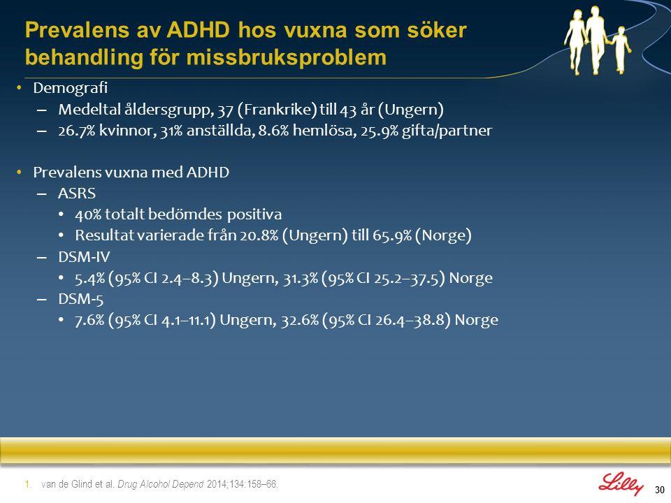 31 Giltigheten av ASRS som screeninginstrument för vuxna patienter med ADHD som söker behandling för missbruk Giltigheten av ASRS undersöktes jämfört med CAADID och andelen ställda diagnoser hos 1138 personer som sökt behandling för missbruk Total prevalens för vuxna med ADHD var 13.9% Ett stabilt resultat uppvisades hos 84% av patienterna och en förändring av resultat hos 16% av patienterna Resultat – Positivt prediktivt värde (PPV) 0.26 (95% CI 0.22–0.30) – Negativt prediktivt värde (NPV) 0.97 (95% CI 0.96–0.98) Slutsatser – ASRS är ett känsligt instrument för att identifiera möjliga fall av ADHD och med mycket lågt antal fall bland de som bedömts negativa i denna population 1.van de Glind et al.
