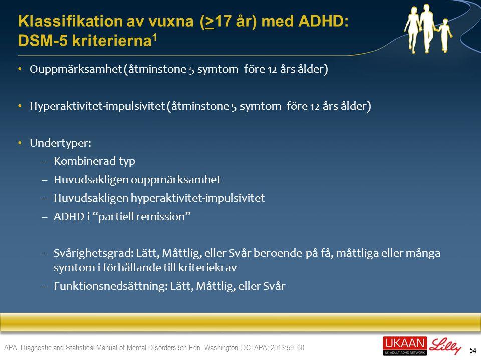 55 DSM-V: ADHD-symptom på uppmärksamhetsproblem 1 >17 år: måste ha ≥ 5 symptom på ouppmärksamhet som har förelegat i ≥6 månader till en grad som är maladaptiv och oförenlig med utvecklingsnivån 1.APA.
