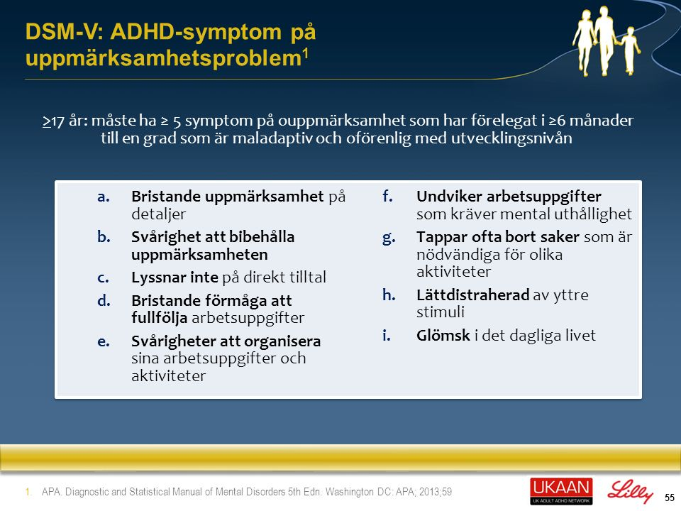 56 DSM-V: ADHD-symptom på hyperaktivitet/impulsivitet >17 år: måste ha ≥ 5 symptom på hyperaktivitet/impulsivitet som har förelegat i ≥6 månadertill en grad som är maladaptiv och oförenlig med utvecklingsnivån 1.APA.