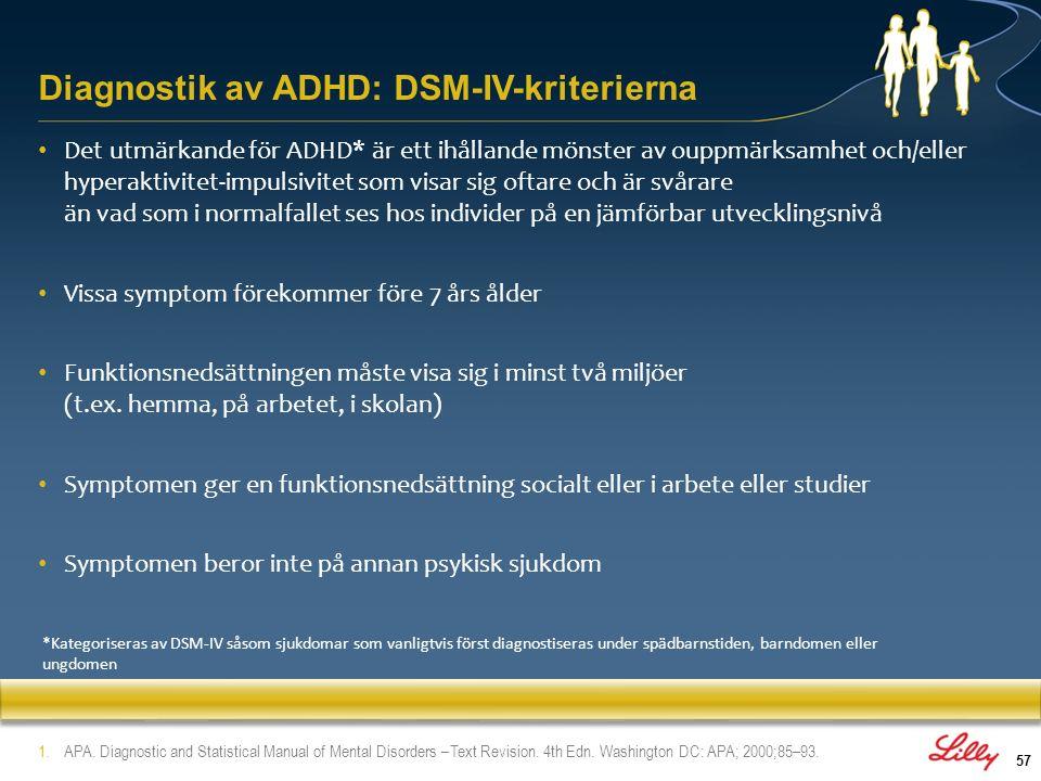 58 DSM-IV: ADHD-symptom på uppmärksamhetsproblem 1 Måste ha ≥6 symptom på ouppmärksamhet som har förelegat i ≥6 månader till en grad som är maladaptiv och oförenlig med utvecklingsnivån a.Bristande uppmärksamhet på detaljer b.Svårighet att bibehålla uppmärksamheten c.Lyssnar inte på direkt tilltal d.Bristande förmåga att fullfölja arbetsuppgifter e.Svårigheter att organisera sina arbetsuppgifter och aktiviteter f.Undviker arbetsuppgifter som kräver mental uthållighet g.Tappar ofta bort saker som är nödvändiga för olika aktiviteter h.Lättdistraherad av yttre stimuli i.Glömsk i det dagliga livet a.Bristande uppmärksamhet på detaljer b.Svårighet att bibehålla uppmärksamheten c.Lyssnar inte på direkt tilltal d.Bristande förmåga att fullfölja arbetsuppgifter e.Svårigheter att organisera sina arbetsuppgifter och aktiviteter f.Undviker arbetsuppgifter som kräver mental uthållighet g.Tappar ofta bort saker som är nödvändiga för olika aktiviteter h.Lättdistraherad av yttre stimuli i.Glömsk i det dagliga livet 1.APA.