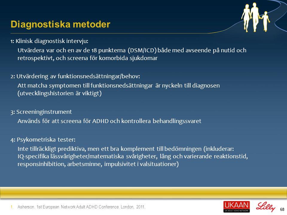 69 InstrumentKommentarer Conners' Adult ADHD 1 (CAADID) Diagnostisk intervju enligt DSM- IV - Del I: Utvecklingshistoria - Del II: Diagnostiska kriterier - Obs.