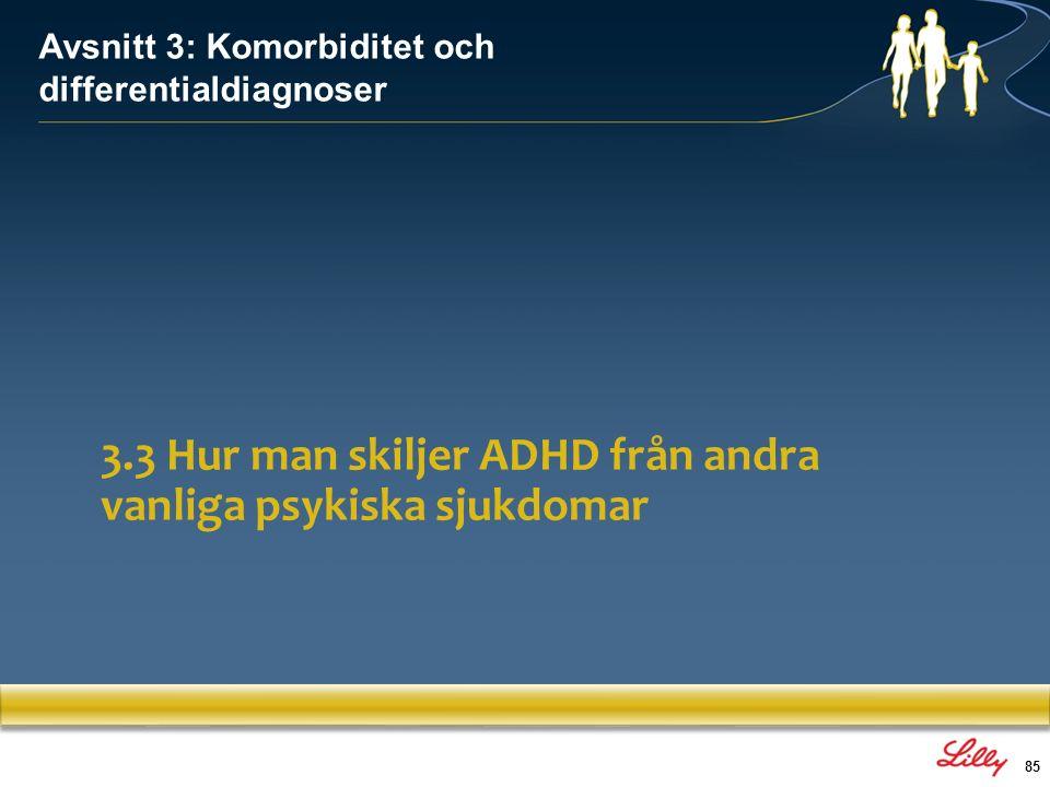 86 ADHDAffektiv störning Kronisk affektiv instabilitetAffektiv instabilitet endast under episod Ingen anhedoni, inga aptitstörningarNeurovegetativa symptom föreligger Svarar vanligtvis på symptomkontroll och förbättring av funktionsnivån Episoder av depression, som kräver separat depressionsbehandling ADHD och depressionssymptom 1.Amons.