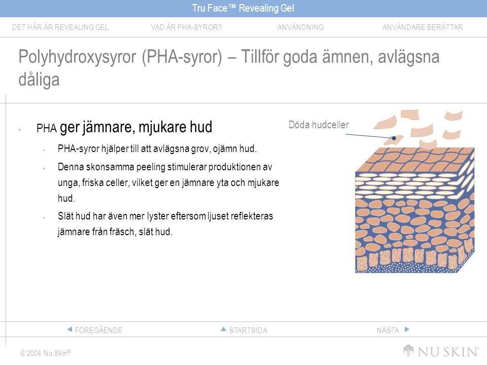 Tru Face™ Revealing Gel DET HÄR ÄR REVEALING GELVAD ÄR PHA-SYROR ANVÄNDNINGANVÄNDARE BERÄTTAR © 2004 Nu Skin ® STARTSIDAFÖREGÅENDENÄSTA Polyhydroxysyror (PHA-syror) – Tillför goda ämnen, avlägsna dåliga  PHA ger jämnare, mjukare hud  PHA-syror hjälper till att avlägsna grov, ojämn hud.