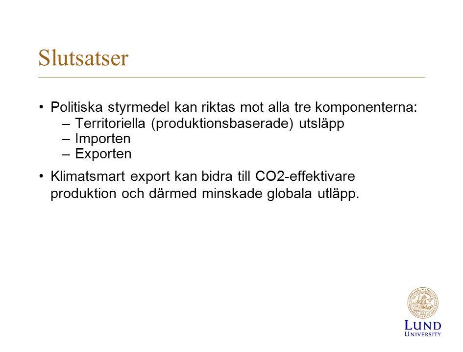 Slutsatser Politiska styrmedel kan riktas mot alla tre komponenterna: –Territoriella (produktionsbaserade) utsläpp –Importen –Exporten Klimatsmart export kan bidra till CO2-effektivare produktion och därmed minskade globala utläpp.