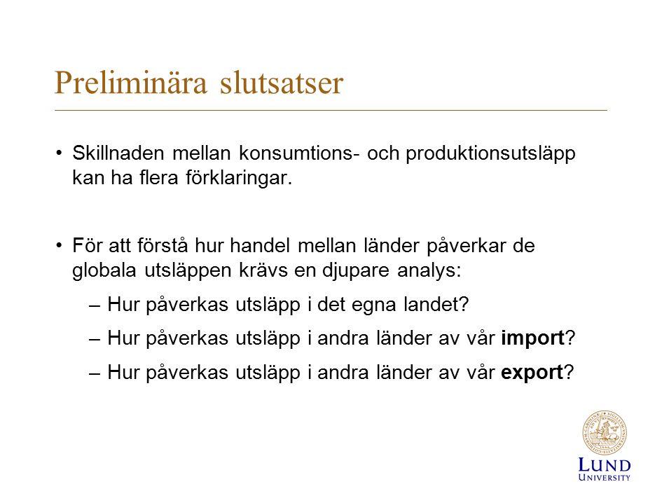 Slutsatser Politiska styrmedel kan riktas mot alla tre komponenterna: –Territoriella (produktionsbaserade) utsläpp –Importen –Exporten