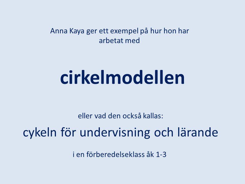 cirkelmodellen eller vad den också kallas: cykeln för undervisning och lärande Anna Kaya ger ett exempel på hur hon har arbetat med i en förberedelsek