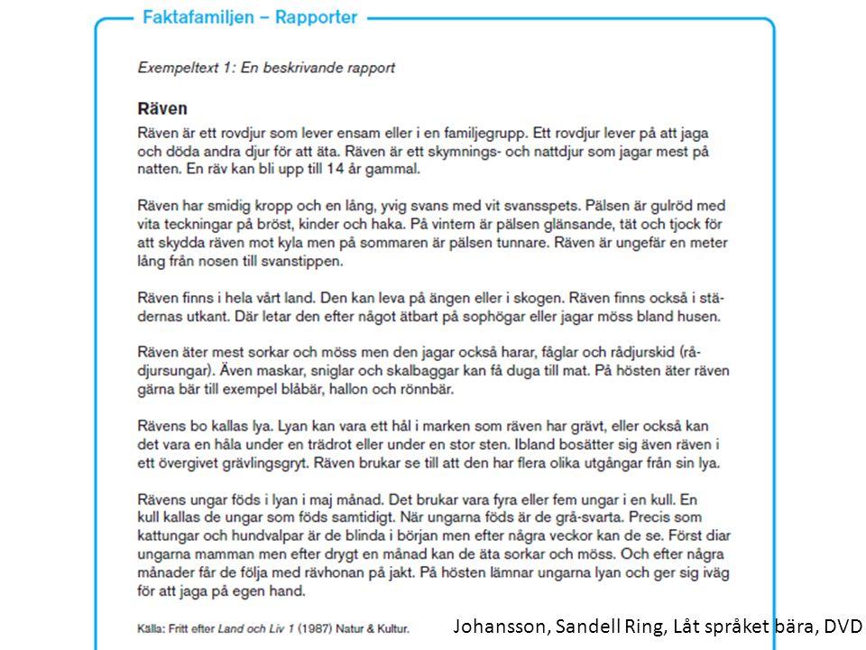 Johansson, Sandell Ring, Låt språket bära, DVD