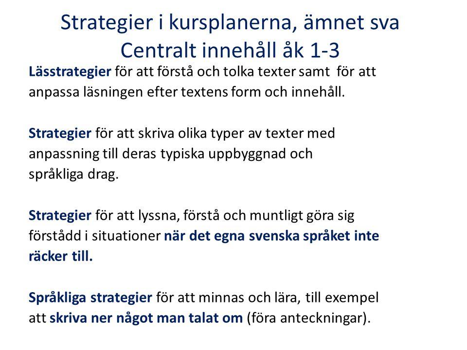 Strategier i kursplanerna, ämnet sva Centralt innehåll åk 1-3 Lässtrategier för att förstå och tolka texter samt för att anpassa läsningen efter texte