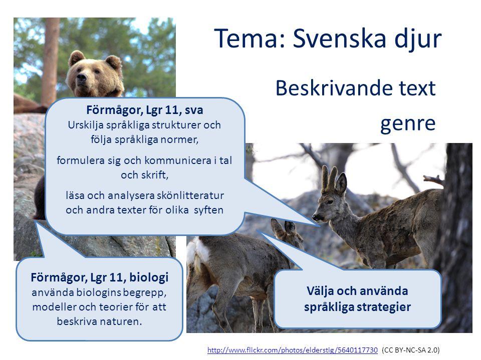Tema: Svenska djur http://www.flickr.com/photos/elderstig/5640117730http://www.flickr.com/photos/elderstig/5640117730 (CC BY-NC-SA 2.0) http://www.fli